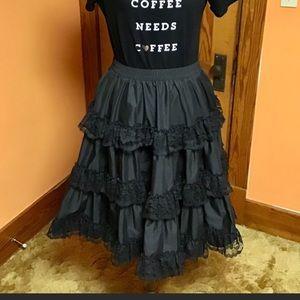 SALE Vintage black lace gothic tiered retro skirt